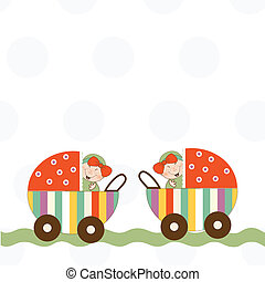 baby twins announcement card