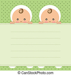 Baby twins announcement card.