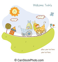 baby twins shower announcement card