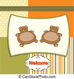 baby twins shower card with teddy