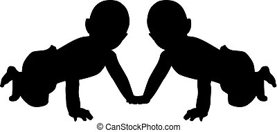 Baby twins silhouette
