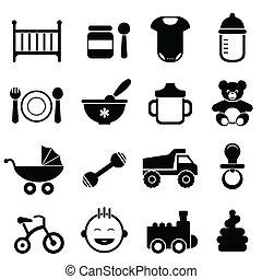 baby, und, neugeborenes, ikone, satz