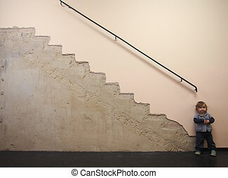 baby, und, treppe