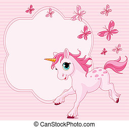 Baby unicorn place card - Place card of running beautiful...