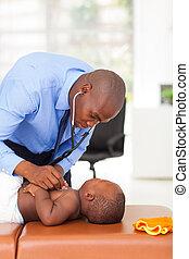 baby, untersuchen, doktor, afrikanisch, junge