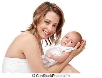 baby, vasthouden, haar, moeder