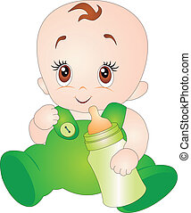 Baby vector - A baby eating milk from the bottle. Vector...