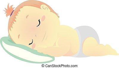 baby, vector, hoofdkussen, illustratie, slapende