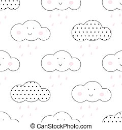 Baby vector seamless pattern. Light fun sky print for...