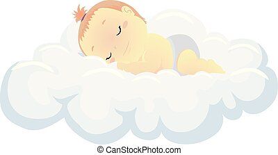 baby, vector, wolk, illustratie, slapende