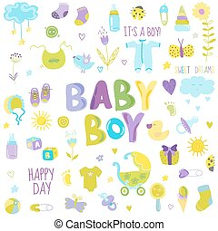 baby, -, vektor, elementara, design, urklippsalbum, pojke