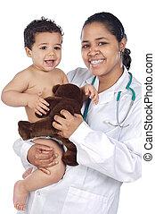baby, verpleegkundige, vasthouden