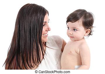 baby, verticaal, haar, moeder