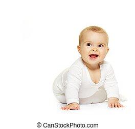 baby, vit, förtjusande, isolerat