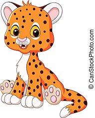 baby, vrolijke , cheetah, zittende , spotprent