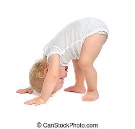 baby, vrolijke , het proberen, toddler, zuigeling, kind, het...