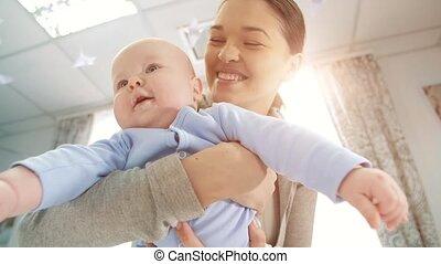 baby, vrolijke , moeder