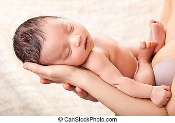 baby, vrolijke , vasthouden, haar, moeder