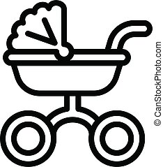 Baby waggon icon, outline style - Baby waggon icon. Outline ...