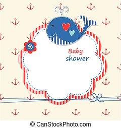 baby, walvis, 2, schattig, douche