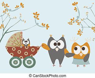 baby wandelaar, met, uilen