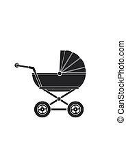baby wandelaar, pictogram, vrijstaand, op wit, achtergrond., kinderen, kinderwagen, kinderwagen, pictogram, vector, illustratie