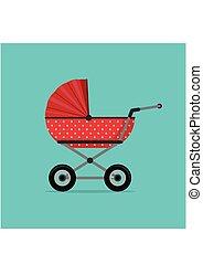 baby wandelaar, rood, vrijstaand, op, blauwe , achtergrond., kinderen, kinderwagen, kinderwagen, vector, illustratie