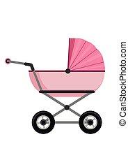 baby wandelaar, vrijstaand, op wit, achtergrond., kinderen, kinderwagen, kinderwagen, vector, illustratie