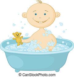 Baby wash in the bath