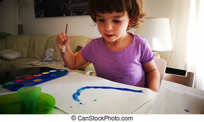 baby watercolor child painting brush color palette .
