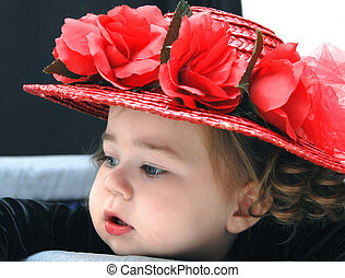 Baby Wears Red Straw Hat