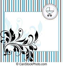 baby, weinlese, abstrakt, einladung, dusche, elegant, design, retro, aufwendig, blumen-, karte
