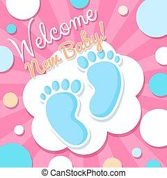 baby, welkom, kaart