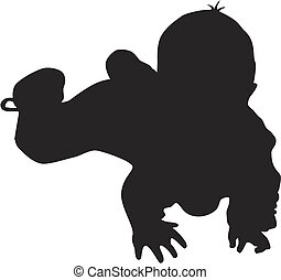 baby, wenig, silhouette