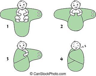 baby, wickeln, blanket., anweisungen, für, gebrauch