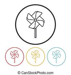 baby, windmolen, lijn, speelbal, pictogram