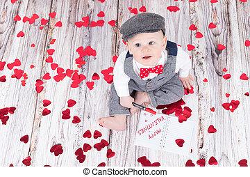 baby wishing happy valentines - lovely baby boy in barret...