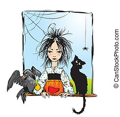 Baby witch with black cat, raven