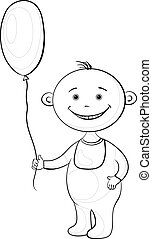 Baby with a balloon, contours