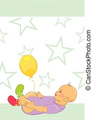 Baby with a balloon. Pattern for design