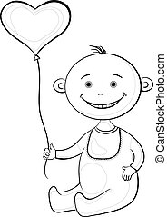 Baby with a heart balloon, contours
