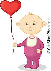 Baby with a heart balloon - Smiling child with a red...