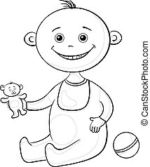 Baby with a toys, outline
