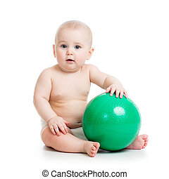 baby with ball isolated on a white