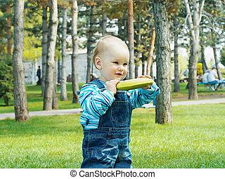 Baby with banana