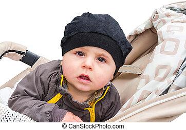 Baby with black cap