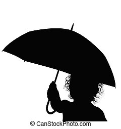 baby with black umbrella silhouette