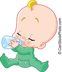 Baby with bottle - Baby drinking bottle