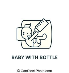 Baby with bottle line icon, vector. Baby with bottle outline sign, concept symbol, flat illustration