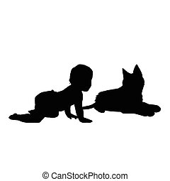 baby with cat silhouette illustration